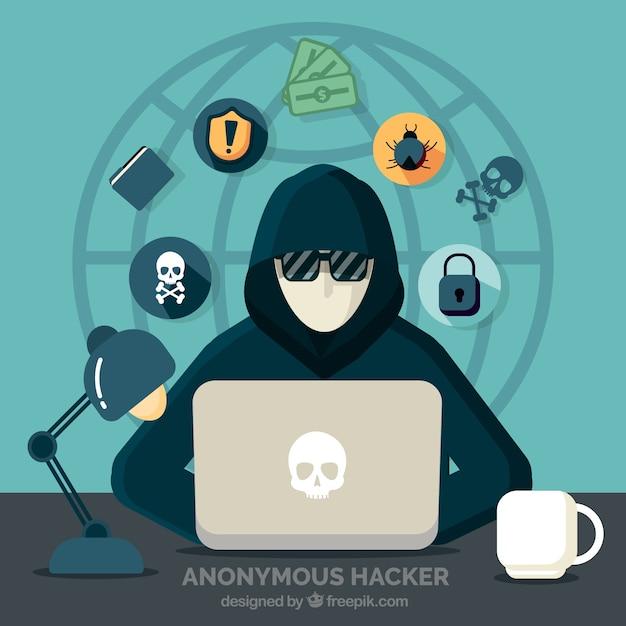 Jonge anonieme hacker met plat ontwerp Gratis Vector