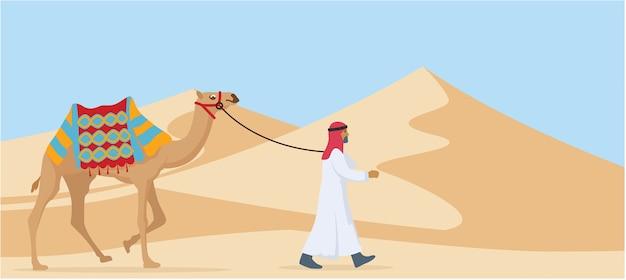 Jonge arabische kerel die zijn woestijn van de kameeltrog loopt Premium Vector