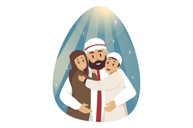 Jonge arabische man moslim stripfiguur knuffelen omarmen kinderen kinderen jongen en meisje poseren samen Premium Vector