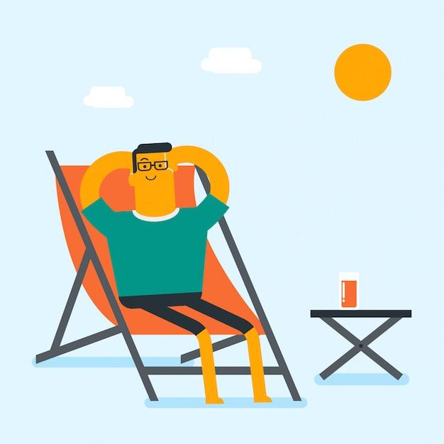 Jonge blanke man ontspannen op de chaise-longue. Premium Vector