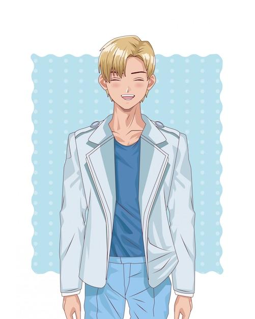 Jonge blonde jongen hentai stijl karakter Premium Vector