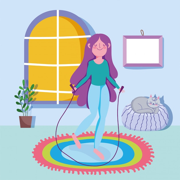 Jonge de sportoefening van de vrouwentouwtjespringen thuis Premium Vector