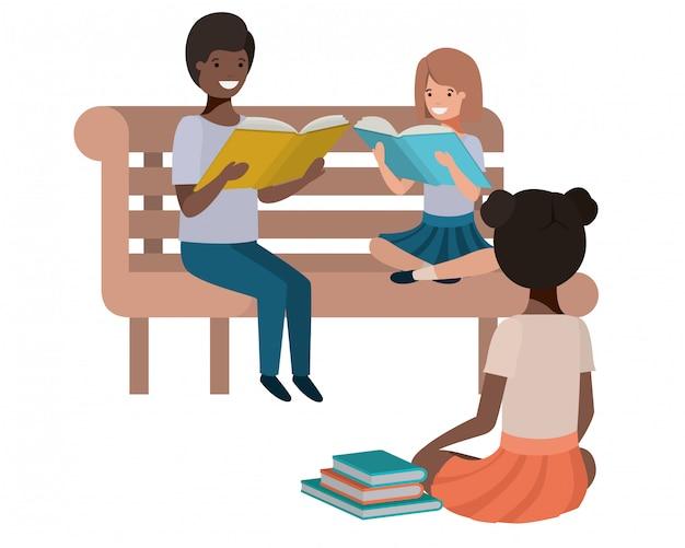 Jonge etniciteitsstudenten die lezingsboek zitten Premium Vector