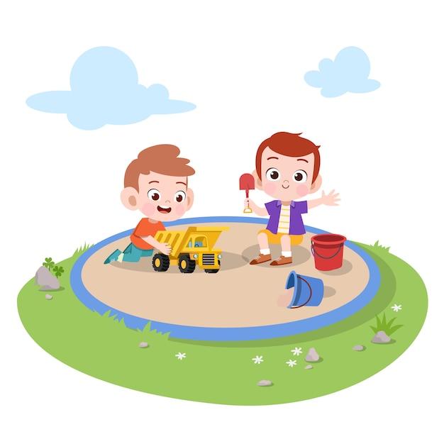 Jonge geitjeskinderen die speelplaatsillustratie spelen Premium Vector