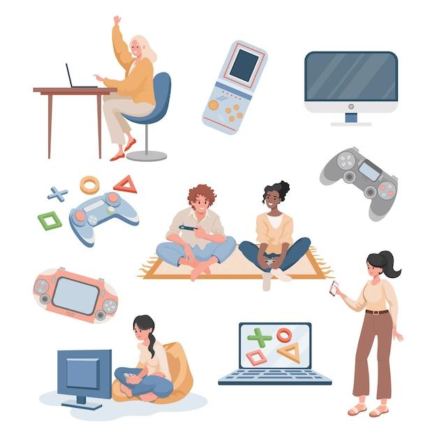 Jonge gelukkige mensen spelen van videogames en streaming platte illustratie geïsoleerd op een witte achtergrond. Premium Vector