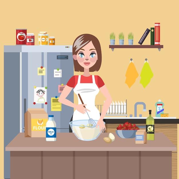 Jonge glimlachende huisvrouw kooktaart in de keuken met bloem, melk en eieren. heerlijk zelfgemaakt diner. illustratie Premium Vector
