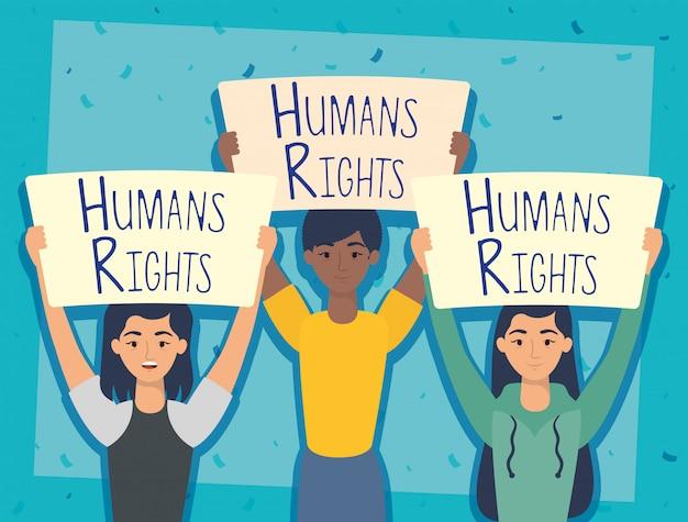 Jonge interraciale mensen met mensenrechten label vector illustratie ontwerp Gratis Vector