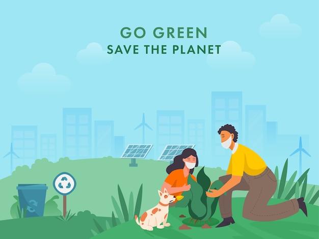 Jonge jongen en meisje planten met hondkarakter op ecosysteemachtergrond voor go green save the planet tijdens coronavirus. Premium Vector