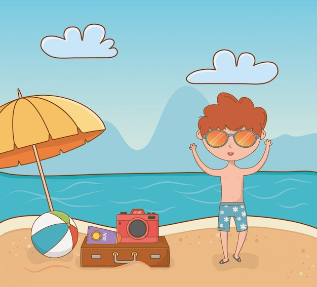 Jonge jongen op de strandscène Premium Vector