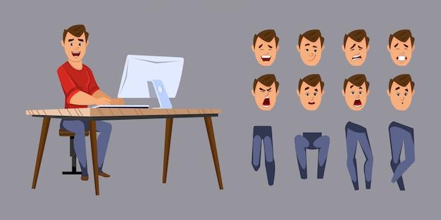Jonge kantoor werknemer karakter voor animatie of beweging met verschillende gezichtsemoties en handen. Premium Vector