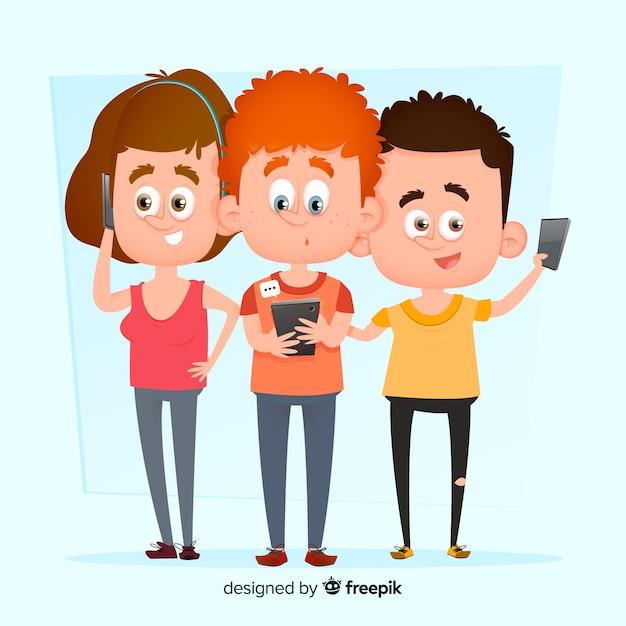 Jonge karakters met telefoonsillustratie Gratis Vector