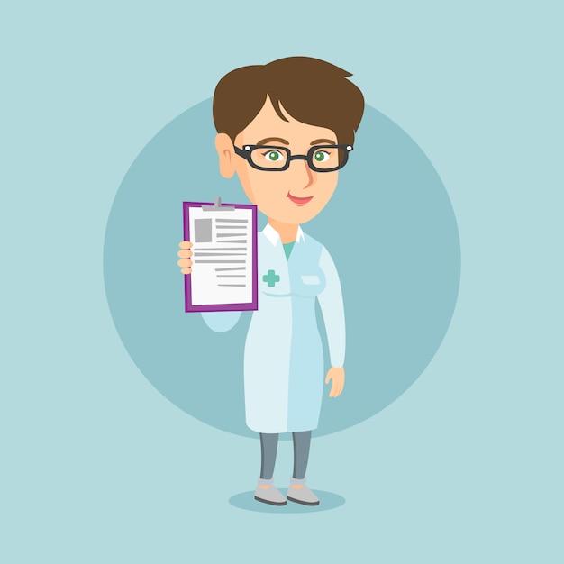 Jonge kaukasische arts met een klembord. Premium Vector