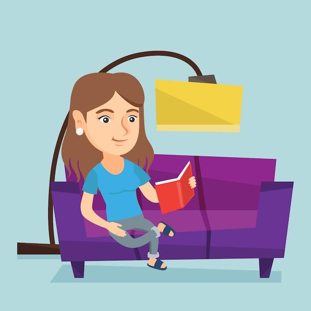 Jonge kaukasische vrouw die een boek op bank leest. Premium Vector