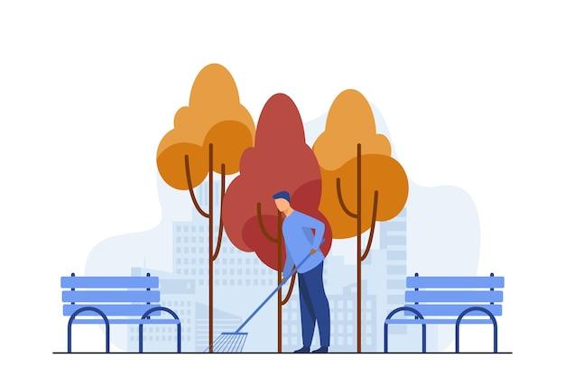 Jonge kerel straat schoonmaken van herfstbladeren. vallen, bankje, park platte vectorillustratie. seizoen en bezetting Gratis Vector