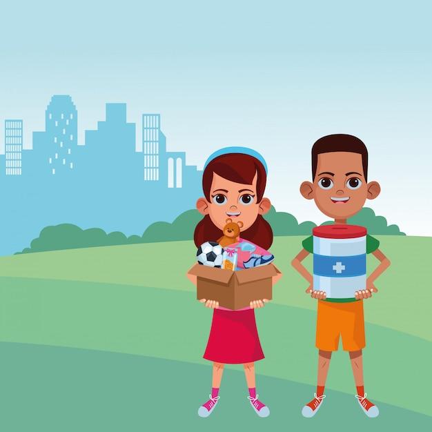 Jonge kinderen avatar kartonnen personage Premium Vector