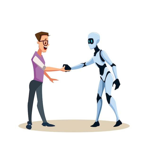Jonge lachende man in glazen en robot schudden hand Premium Vector