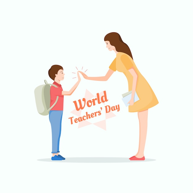 Jonge leraar die hallo vijf geeft aan een leuke student. werelddag voor leerkracht concept. Premium Vector