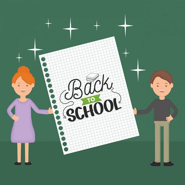 Jonge leraren koppelen met laptopblad. terug naar school Gratis Vector