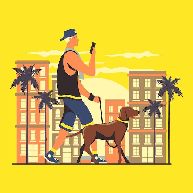 Jonge man een wandeling met zijn hond Gratis Vector