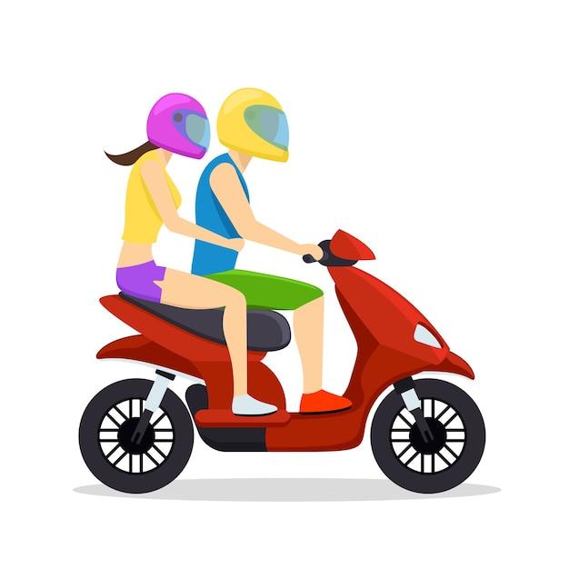 Jonge man en vrouw paar rijden op scooter. transportsymbool, bromfiets en motorfiets. Gratis Vector