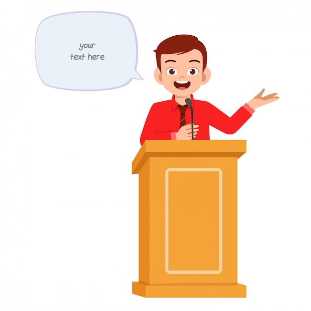 Jonge man houdt een goede speech op het podium Premium Vector