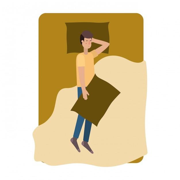 Jonge man in bed avatar karakter Premium Vector