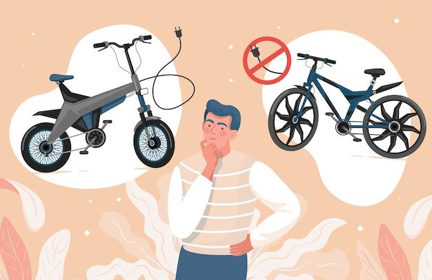 Jonge man kiezen tussen elektrische en niet-elektrische fietsen vlakke afbeelding. Premium Vector