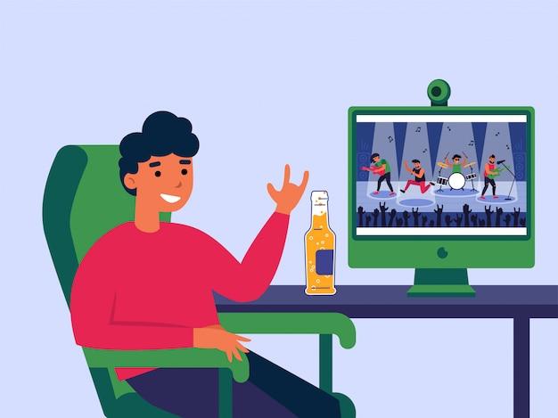 Jonge man kijken concert online op computer Gratis Vector