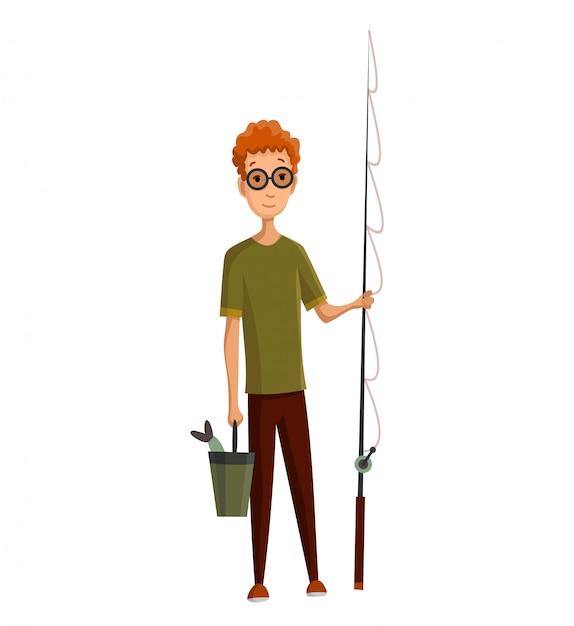 Jonge man met bril, hengel en een emmer in zijn handen. gevangen vis in een emmer. succesvol vissen Premium Vector