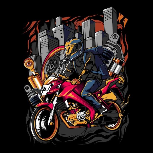 Jonge man met een helm op een motorfiets in het midden van de stad Premium Vector