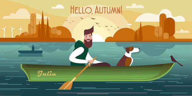 Jonge man met een hond in een boot. van de herfst vissen Premium Vector
