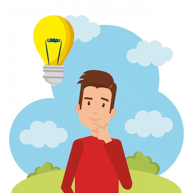 Jonge man met lamp karakter Gratis Vector