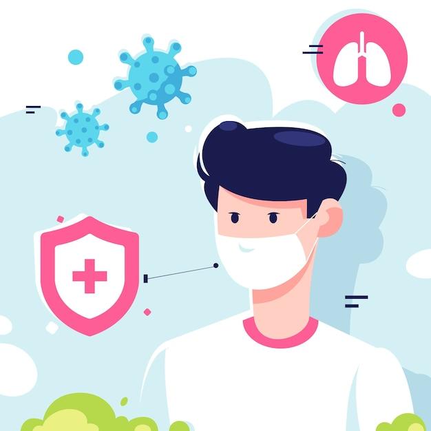 Jonge man met medische maskers Premium Vector