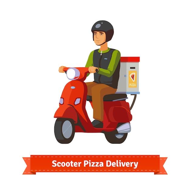 Jonge man op een scooter die pizza levert Gratis Vector