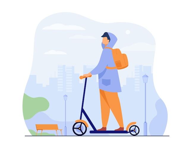 Jonge man rijden elektrische scooter geïsoleerde platte vectorillustratie. cartoon hipster rijden langs stoep in stadspark. Gratis Vector