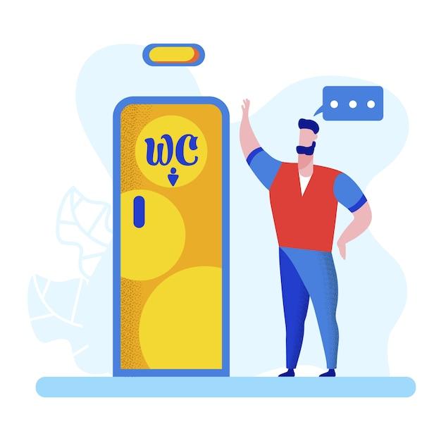 Jonge man stand bij deur met wc-teken. watercloset Premium Vector