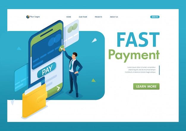 Jonge man voert een online betaling uit via een mobiele applicatie. snelle betaling. 3d isometrisch. Premium Vector