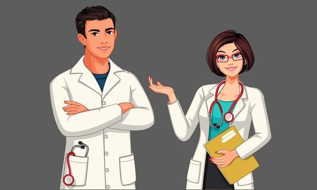Jonge mannelijke en vrouwelijke artsen met stethoscoop en schort in staande positieillustratie Premium Vector