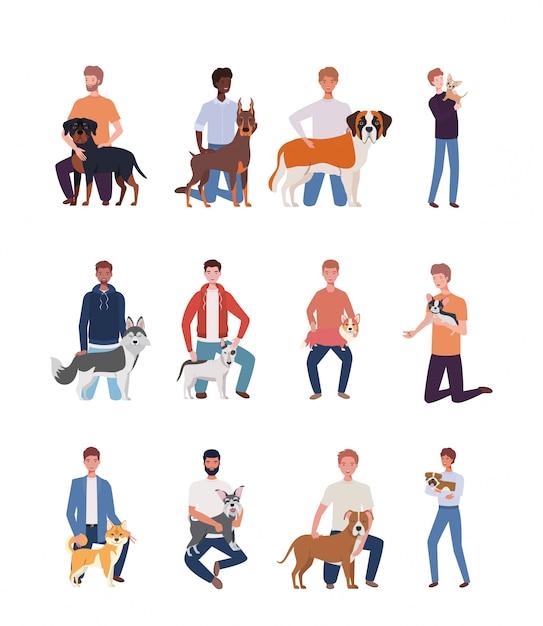 Jonge mannen met schattige honden mascottekarakters Premium Vector