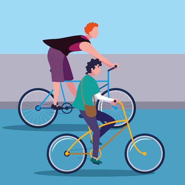 Jonge mannen rijden fiets avatar karakter Premium Vector