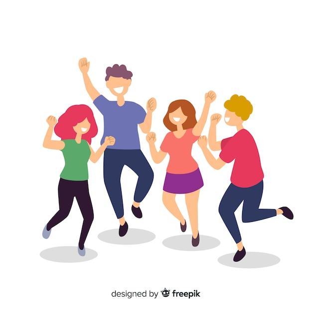 Jonge mensen dansen Gratis Vector