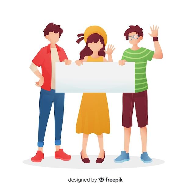 Jonge mensen die lege banner houden Gratis Vector
