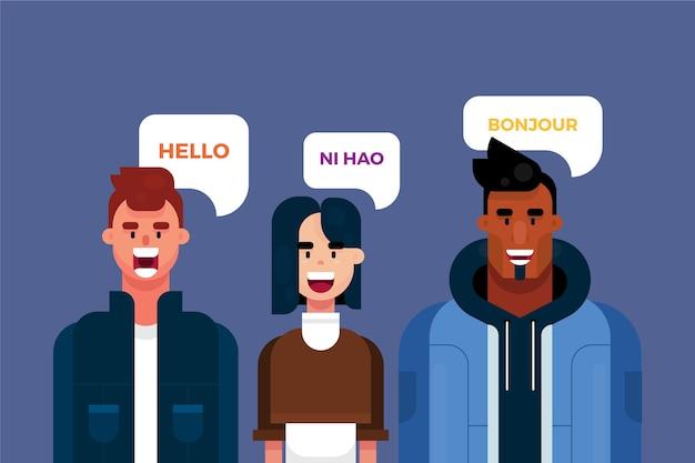 Jonge mensen die verschillende talen spreken Gratis Vector