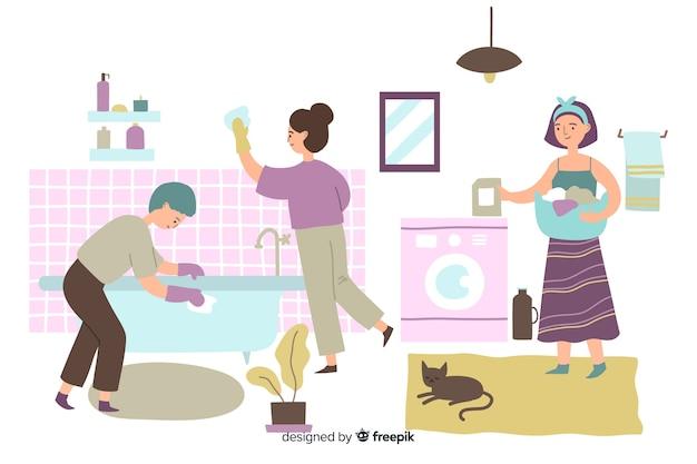 Jonge mensen doen huishoudelijk werk in de badkamer Gratis Vector