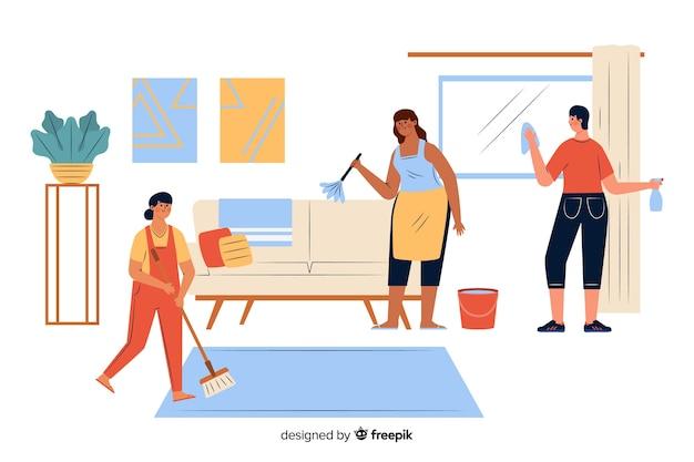 Jonge mensen doen huishoudelijk werk in de woonkamer Gratis Vector