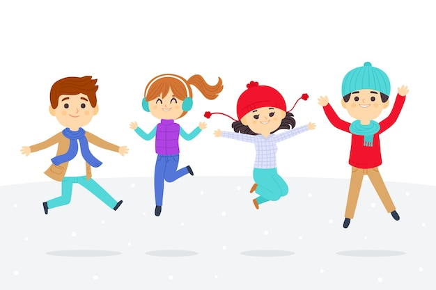 Jonge mensen dragen winterkleren set springen Gratis Vector