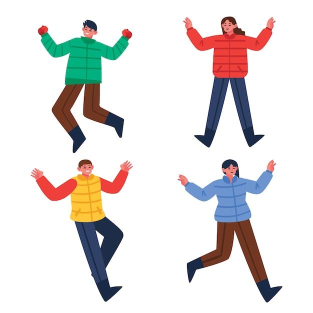Jonge mensen dragen winterkleren springen Gratis Vector