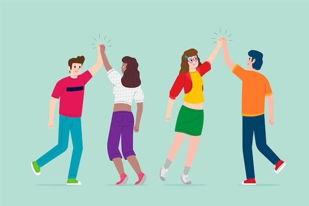 Jonge mensen geven high five set Gratis Vector