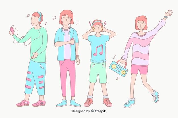 Jonge mensen luisteren naar muziek in koreaanse tekenstijl Gratis Vector
