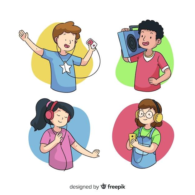 Jonge mensen luisteren naar muziek Gratis Vector